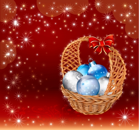 christmas basket with decorations balls on red background stock vector 24062422
