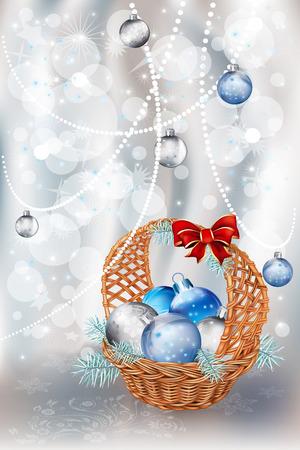 Jul korg med dekorationer bollar av silver bakgrund vektor illustration