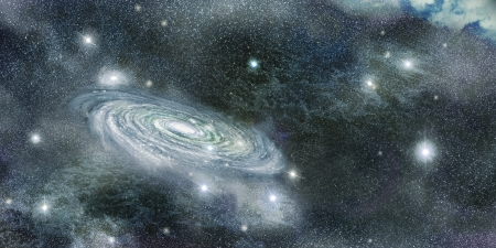 astrophysics: spiral galaxy in the infinite cosmos of stars and nebulae Stock Photo