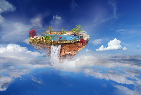 cascade mountains: island with a lake, trees, a waterfall on the from above flipped mountain is flying in the sky