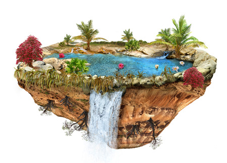 flipped: island with a lake, trees, a waterfall on the from above flipped mountain is flying in space
