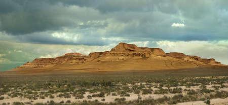 tethys: panorama of unusual deserted slopes plateau Ustyurt  Shagyray  in Kazakhstan