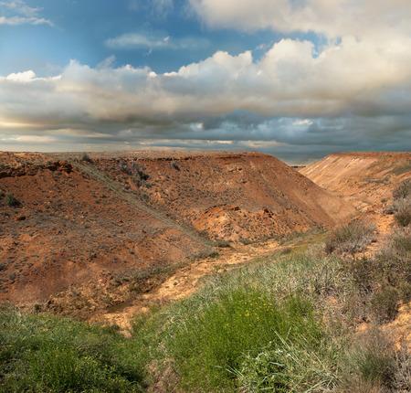 färgstarka landskap öken backarna platå Ustyurt i Kazakstan