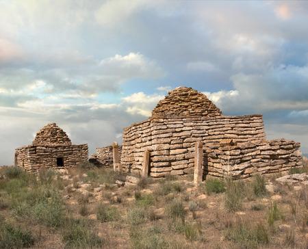 mausoleum: ruins of an ancient Islamic cemetery in the desert Ustyurt in Kazakhstan