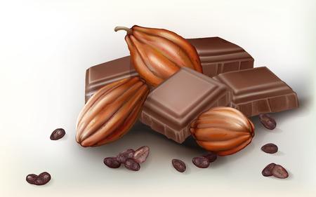 ココアのフルーツ、白い背景の上のチョコレートの塊