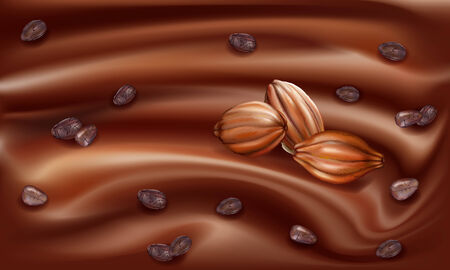 pods: Cocoa fruit and grains on the leaves of a chocolate background Illustration