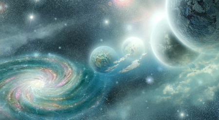 fantasy fiction: planets and nebula space of the on background spiral galaxy