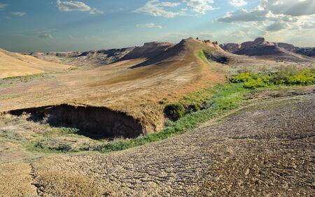 kazakhstan: panorama plateau slopes and gorges Shalkar-Nur in the northeastern part of Ustyurt  Asia, Kazakhstan, district Irgiz