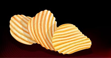 prepared potato: wavy potatos chips on black background  vector illustration