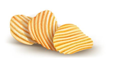 fried potatoes: wavy potatos chips on white background  vector illustration Illustration