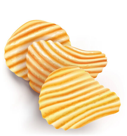wavy potatos chips on white background  vector illustration Illustration