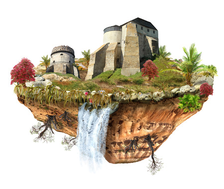 flipped: island with a medieval castle, a waterfall on the from above flipped mountain is flying in space