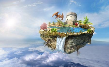 eiland met een draak en de toren kasteel, een waterval op de van boven omgedraaid berg vliegt in de ruimte