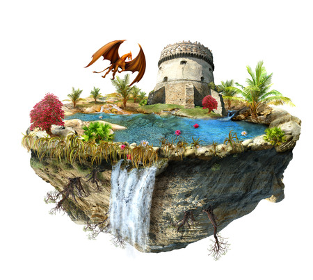 flipped: island with a dragon and tower castle, a waterfall on the from above flipped mountain is flying in space