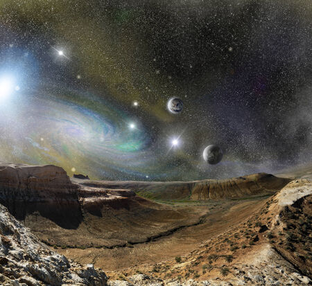 mountains ridges on the background of outer space planets and star