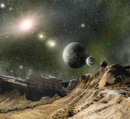 fantasy landscape: landscape mountains ridges on the background of outer space planets and star