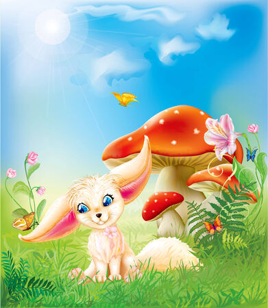 fairy happy baby fox on green grass with mushrooms and flowers Vector