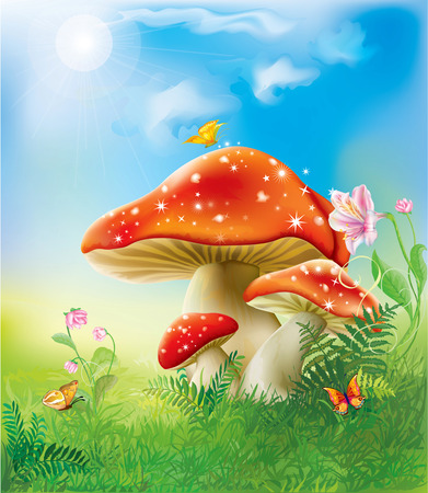 poisonous insect: red fly agarics mushrooms in the grass and flowers Illustration
