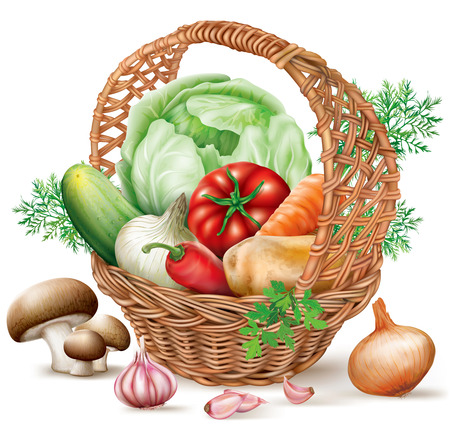 basket: Different vegetables in brown wicker basket. vector illustration