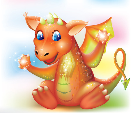 baby dragon: smiling little baby dragon with magic shine