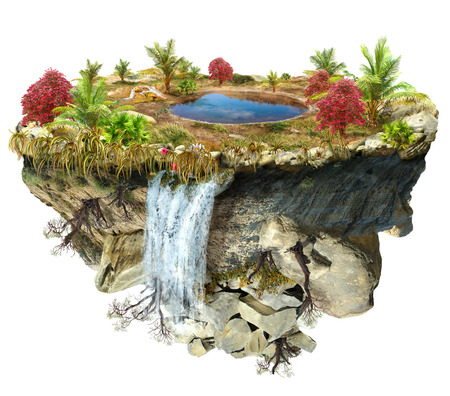 island isolated: island flying with a a lake and trees, a waterfall on the from above flipped mountain is flying in space