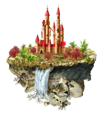 すばらしい城木、滝、島で、反転した山の上からはフライング宇宙で