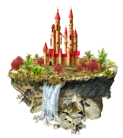 flipped: island with a fabulous castle trees, a waterfall on the from above flipped mountain is flying in space
