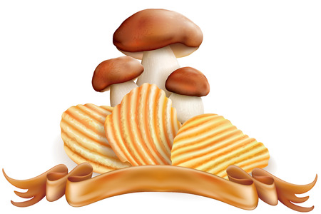 potato chips and mushrooms on a white background Illustration