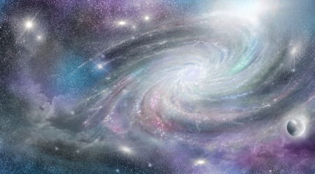 spiral galaxy and nebula in cosmos space Stock Photo