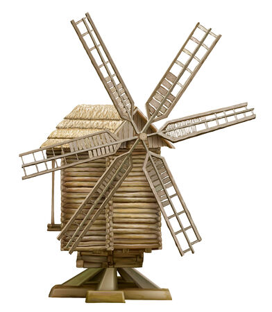 traditional windmill: wooden windmill. traditional Ukrainian culture 19th century