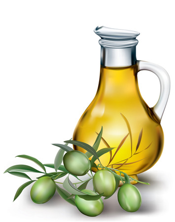 olive su un ramo e una bottiglia di olio di oliva. illustrazione vettoriale Vettoriali