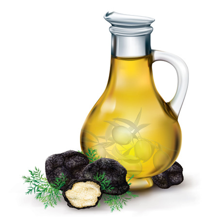 delicacy mushroom black truffle on a background of olive oil bottle Illustration