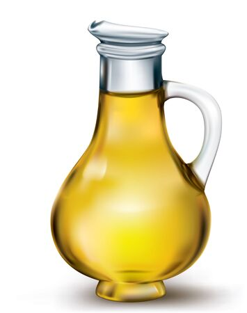 carafe: Olive oil in a bottle on white. vector illustration