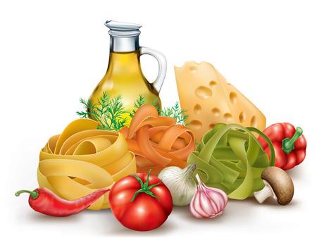 Italiano nido fettuccine pasta, verduras y aceite de oliva. ilustración vectorial