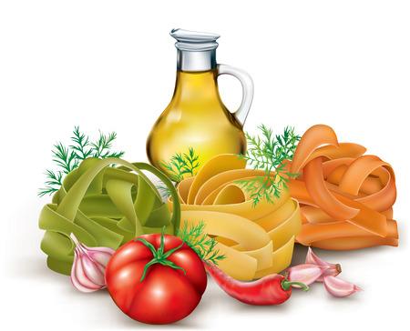 Italiensk pasta fettuccine boet och tomat, vitlök, flaska olivolja. vektor illustration