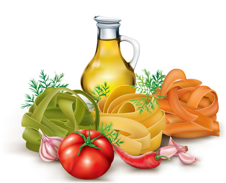 Italian pasta fettuccine nest and tomato, garlic, bottle olive oil . vector illustration