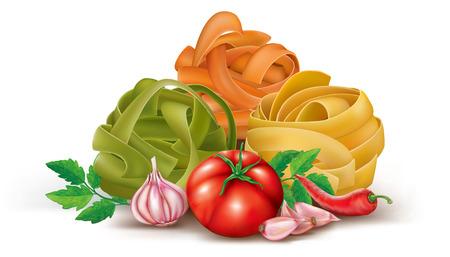 Italiaanse pasta met tomaat en knoflook. vector illustratie