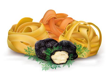 truffle: italian colorful pasta tagliatelle and black truffle. vector illustration