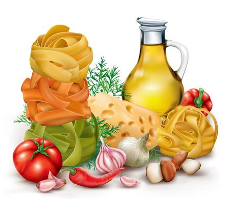 Italian pasta fettuccine nest, vegetables and olive oil. vector illustration