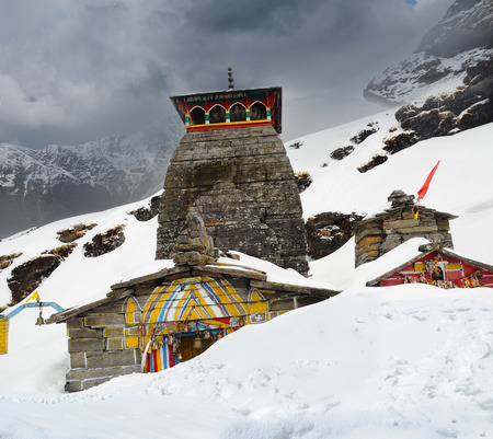 mahabharata: Tungnath is the temple of Lord Shiva, is located on a mountain ridge Tungnath in the state of Uttarakhand, India. The age of this temple - 1000 years Stock Photo