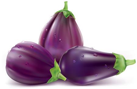 aubergine: Three eggplant or aubergine vegetable on white background