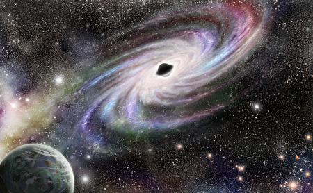 absorb: Black hole at the center of galaxies. No NASA images used Stock Photo