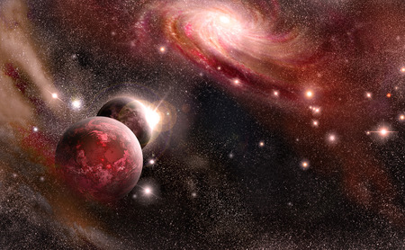 planets, nebula, galaxy, stars of the on background cosmos space