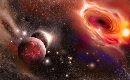 black hole: planets against the background of a black hole.
