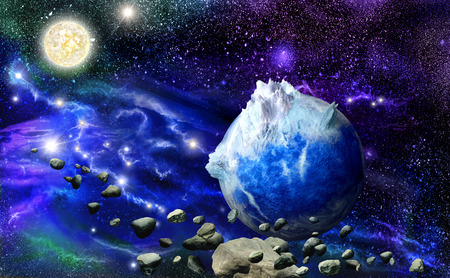 meteors: Abstract blue planet in space against the backdrop of nebulae and meteors Stock Photo