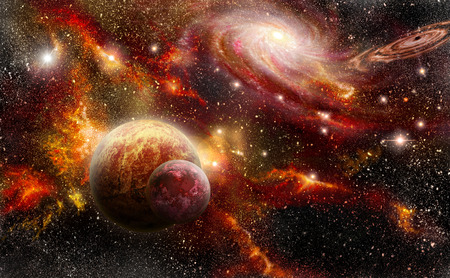 Planets, nebula and spiral galaxy in red tones.  Stockfoto