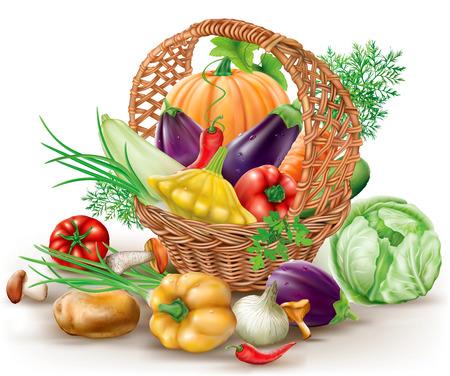 茶色の枝編み細工品バスケットでさまざまな野菜。ベクトル図