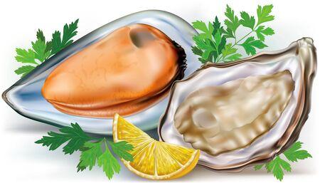 新鮮なレモンとパセリとカキとオープン シェルのムール貝を開かれました。