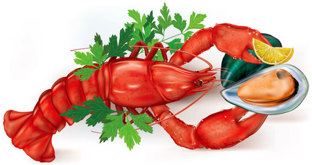 mussel: open shell mussel on a lobster claws with lemon. vector illustration Illustration