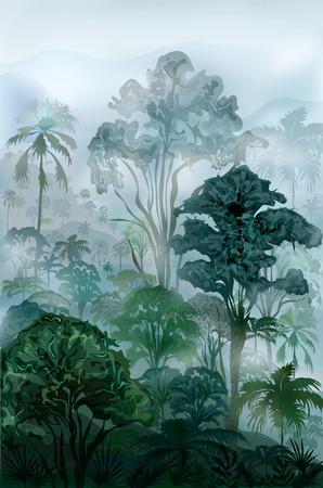 mistige wildernis regenwoud. Vector landschap